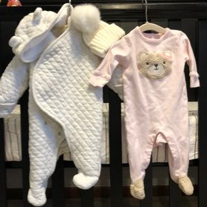 Baby girls snow suit, hat and one piece outfit